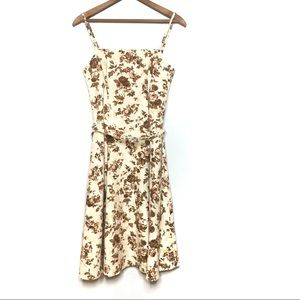 NWT CITY TRIANGLES ROSES PRINT DRESS TAN SIZE 7